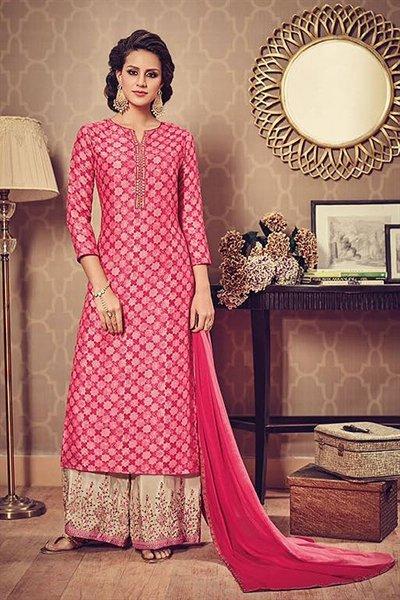 Designer Salwar Kameez Palazzo Suit In Pink Beige