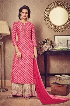 Hot Pink Beige Printed Art Silk Kurti with Embroidered Palazzo Suit