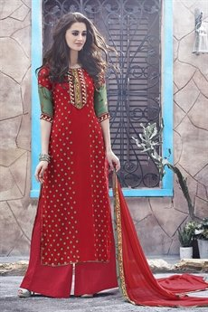 Casual Digital Printed Plazzo Suit In Red