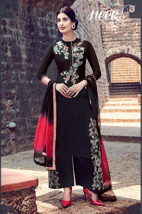 Kimora Embroidered Black Color Palazzo Suit