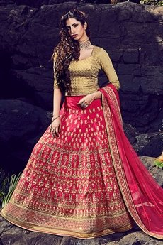 Stunning Beige and luxurious pink silk lehenga