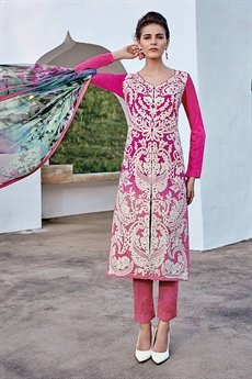 Designer Cotton Jacquard Salwar Suit in Deep Cerise Pink Color