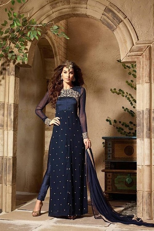 Royal Blue Color Georgette Embroidery Designer Anarkali Suit