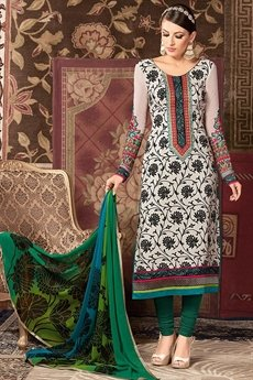 White and Green printed straight long salwar suit