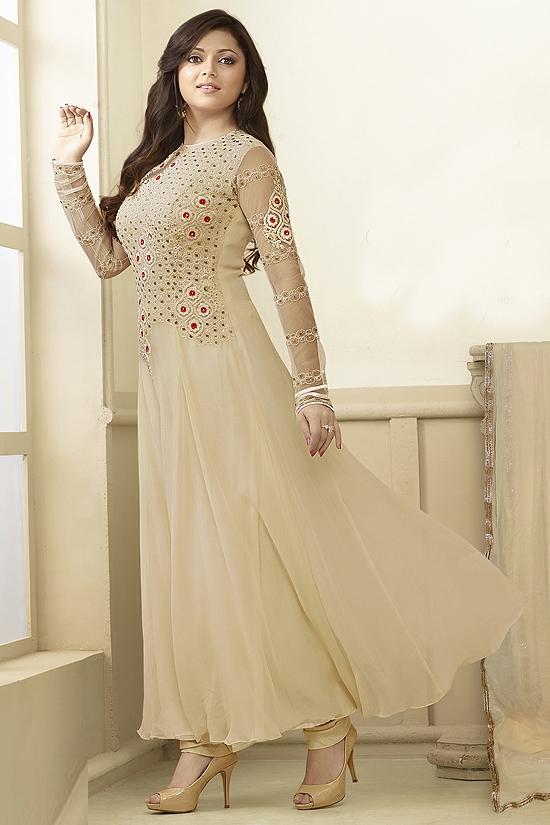 Luxe Beige Anarkali Suit