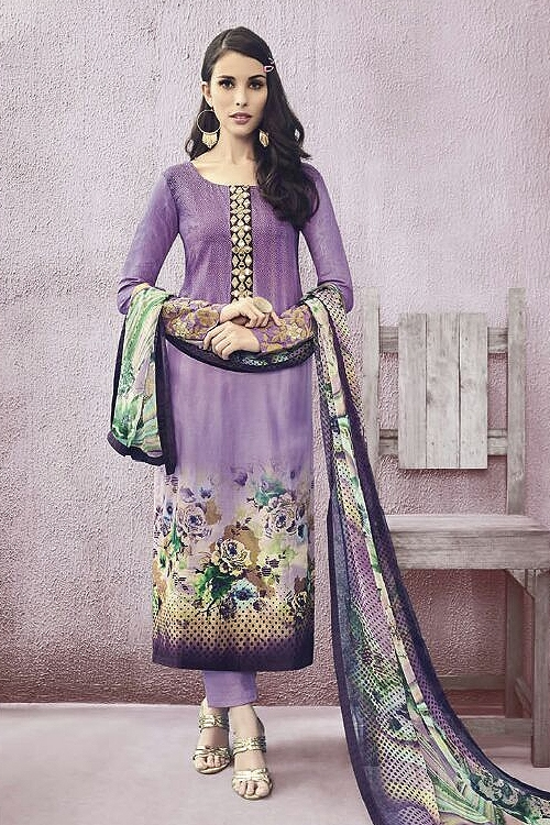 Purple Lawn Printed Straight Cut Salwar Suits