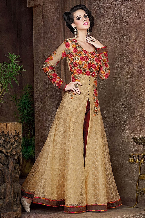 Swagat Golden Color Heavy Embroidery Anarkali Suits