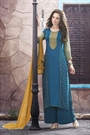 Casual Teal Blue Digital Printed Georgette Palazzo Suit
