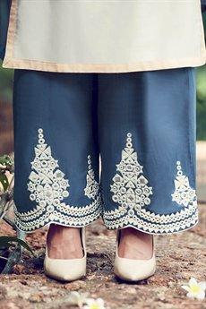 Beige Embroidered Palazzo kameez Suit