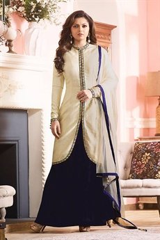 Royal cream and navy blue silk Jacket lehenga style suit