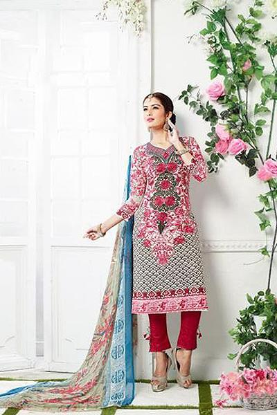 Beautiful Casual Wear Printed Straight Cut Pink Colorsuit