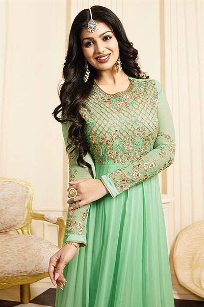 Gorgeous Light Green Georgette Anarkali Suit with Chiffon Dupatta