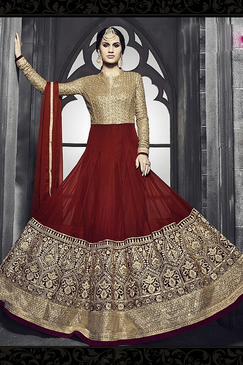 Safeena Pure Georgette Floor Length Anarkali With Heavy Embroidery In Maroon