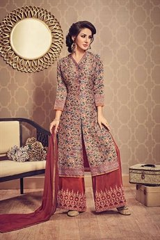 Printed Front Slit Kurti With Embroidered Ruby Red Palazzo Suit