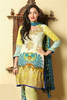 Bollywood Yellow Printed Suit With Digital Printed Dupatta