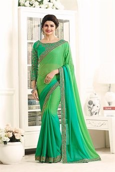 Green Beautiful and Royal Rangoli Georgette Saree