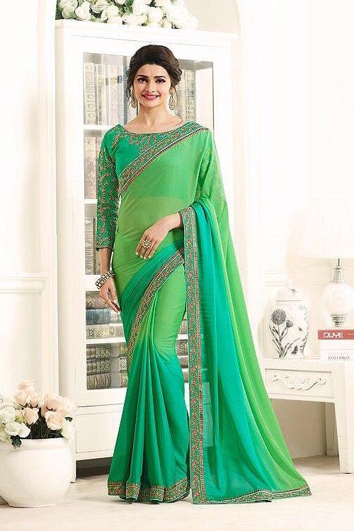 Green Beautiful and Royal Rangoli Georgette Saree