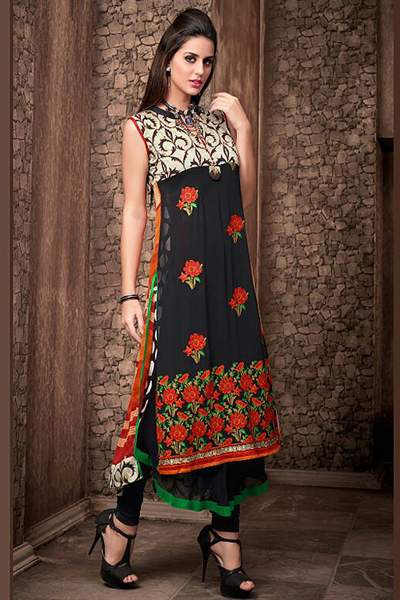 Stunning Designer Layer Style Georgette Kurti with Complimentary necklace
