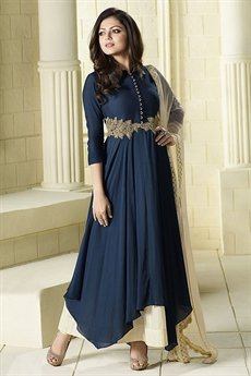 Navy Blue and Off-white Beautiful Anarkali Suit