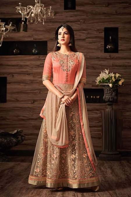 Peach Beige Party Wear Embroidered Anarkali Suit