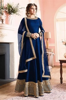 Stunning Ink Blue Silk Anarkali suits