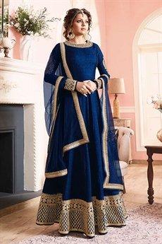 Stunning Ink Blue Silk Anarkali suit