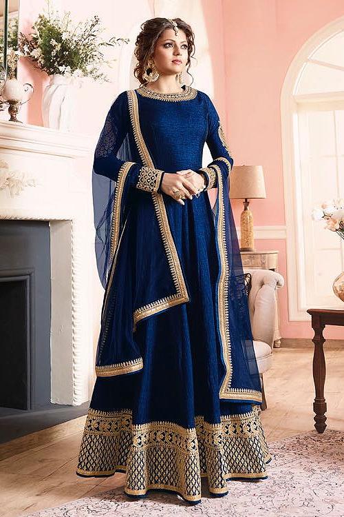 Stunning Ink Blue Silk Anarkali suits