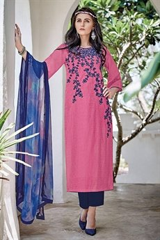 Bahni Elena Designer Cotton Jacquard Suits Dragon Fruit Color Suit