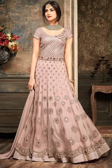 Millennial Pink Embroidered Net Floor Length Anarkali Gown