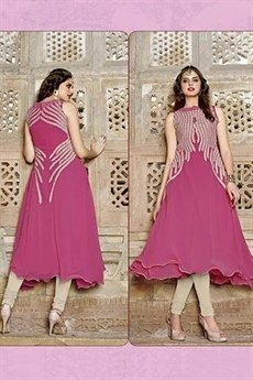Hot Lady Impressive Georgette Designer Kurti In Brink Pink