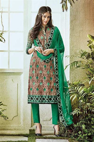 Light Brown Printed Pure Georgette Straight Cut Salwar Suit