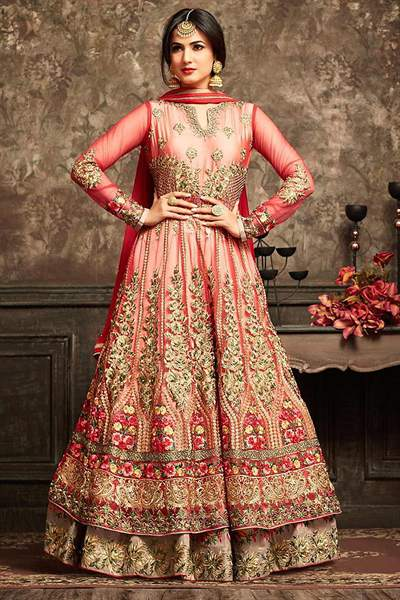 Peachish Red Layered Anarkali Suit With Floral Embroidery In Net