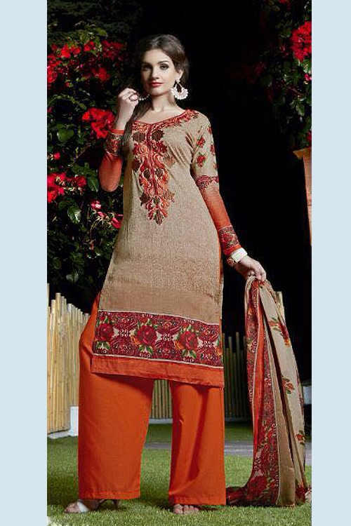 Pure Cotton Printed Salwar Suit in Wild Orange Color