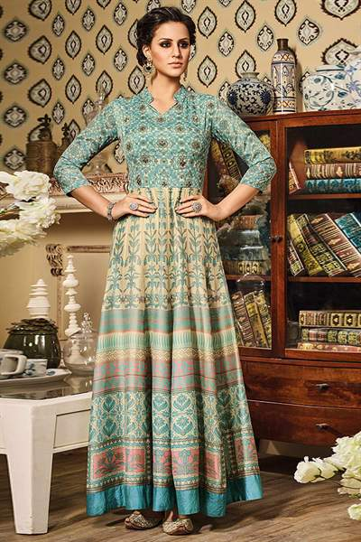 Aqua Blue Beige Designer Art Silk Anarkali Suit In Digital Print