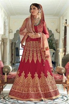 Stunning Ruby Red Anarkali suit / Lehenga / Trouser Jacket Style with Zari embroidery