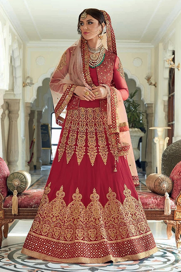 Stunning Red Anarkali suit / Lehenga / Trouser Jacket Style with Zari embroidery