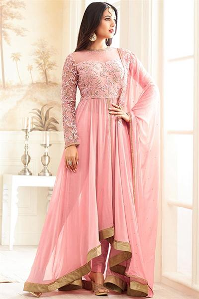 Gorgeous Light Pink Thread Embroidered Georgette Long Anarkali Suit