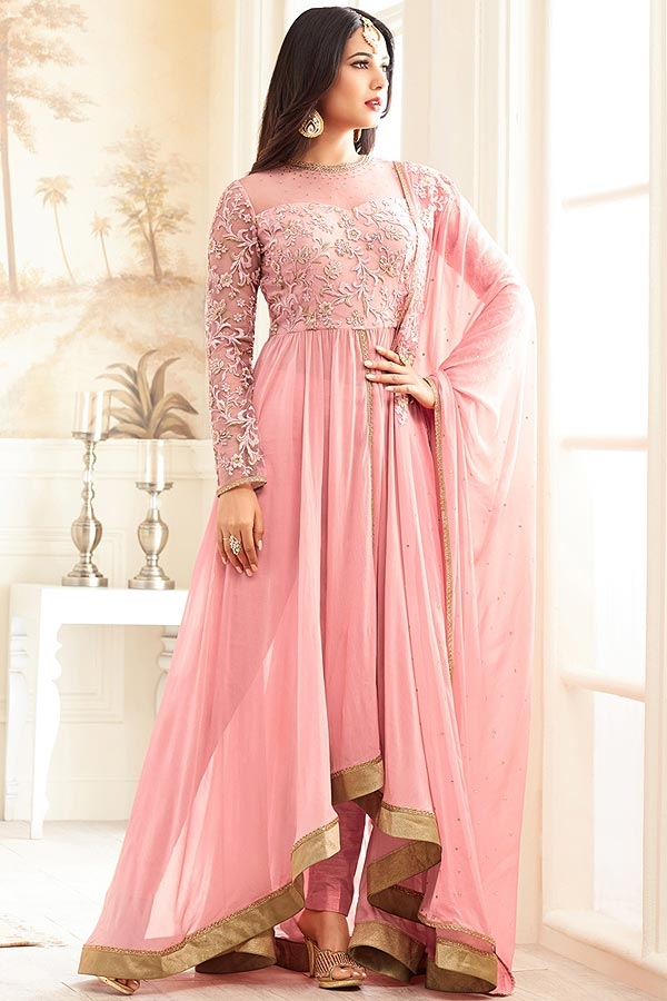 Gorgeous Light Pink Georgette Anarkali Suit
