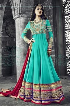 Safeena Pure Georgette Floor Length Anarkali With Heavy  Embroidery In Cyan