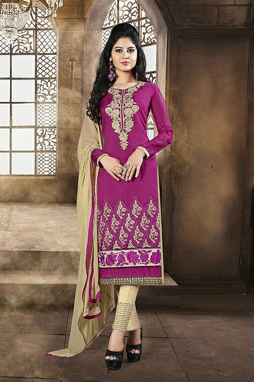 Magenta Pink Chanderi Cotton Churidar Salwar Suits With Embroidery