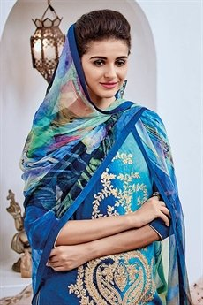 Shaded Cotton Jacquard Salwar Suit In Blue