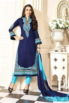 Zankar By Karishma  Cotton Salwar Kameez Blue