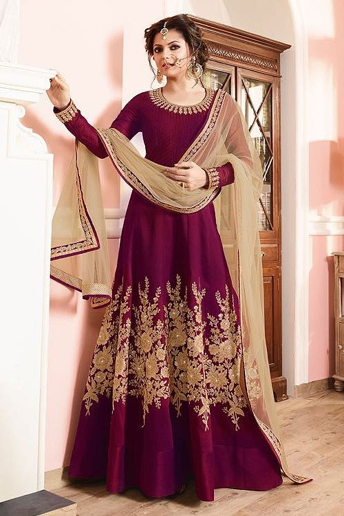 Luxe Wine Red and Beige Silk Anarkali Suits