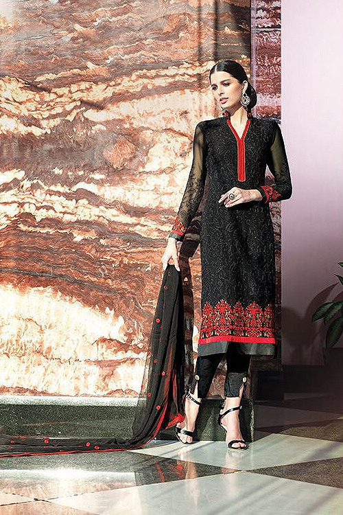 Black Pure Georgette Indian Salwar Suits With Embroidery