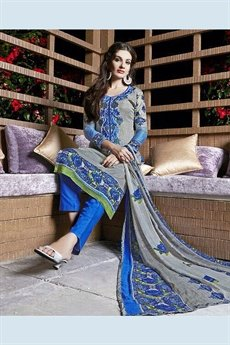 Jassi Pure Cotton Printed Suits With Neck Embroidery Azure Color Suit