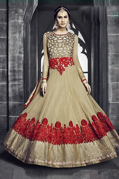 Safeena Pure Georgette Floor Length Anarkali With Heavy Embroidery In Beige