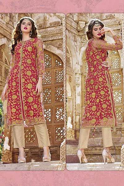 Hot Lady Impressive Georgette Designer Kurti In Coral Red