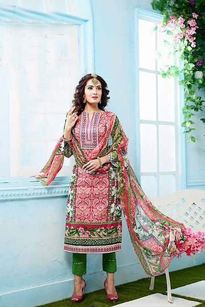 Beautiful French Rose Casual Wear Printed Cotton Straight Cut Indian Salwar Kameez