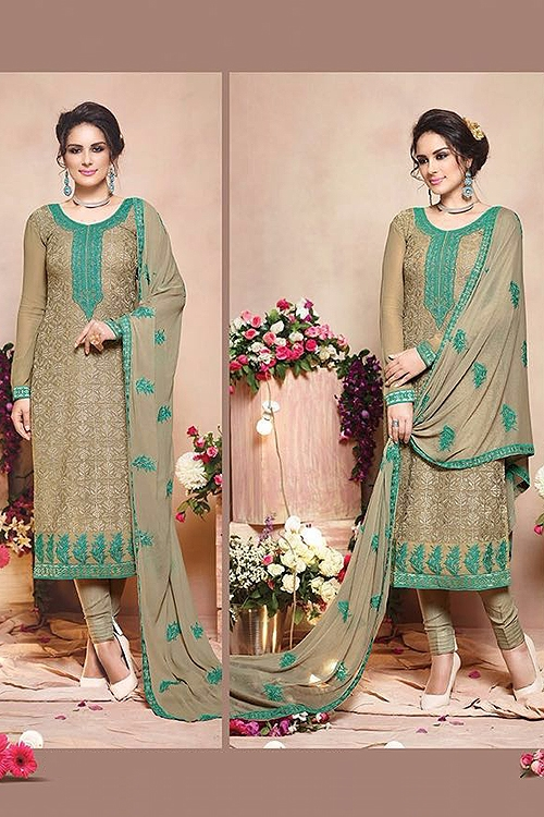 Tan Brown Embroidered Pure Georgette Salwar Suit