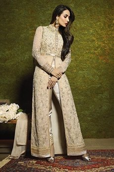 Cream Glossy Malaika Arora Khan Heavy Embroidery Anarkali Suits